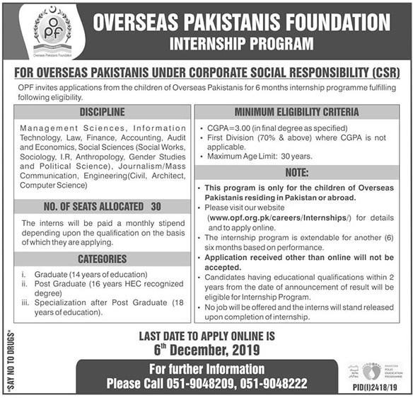 Overseas Pakistani Foundation Internship Program