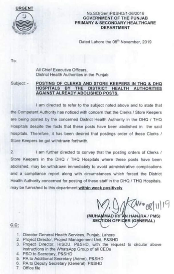 Posting Clerks & Store Keepers in THQ & DHQ Hospitals By Health Authority