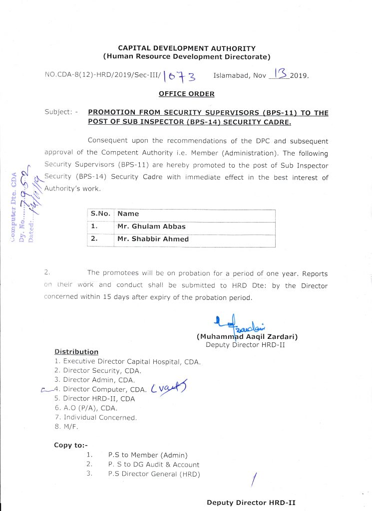 Promotion from Security Supervisors (BPS-11) to Sub Inspector (BPS-14) CDA
