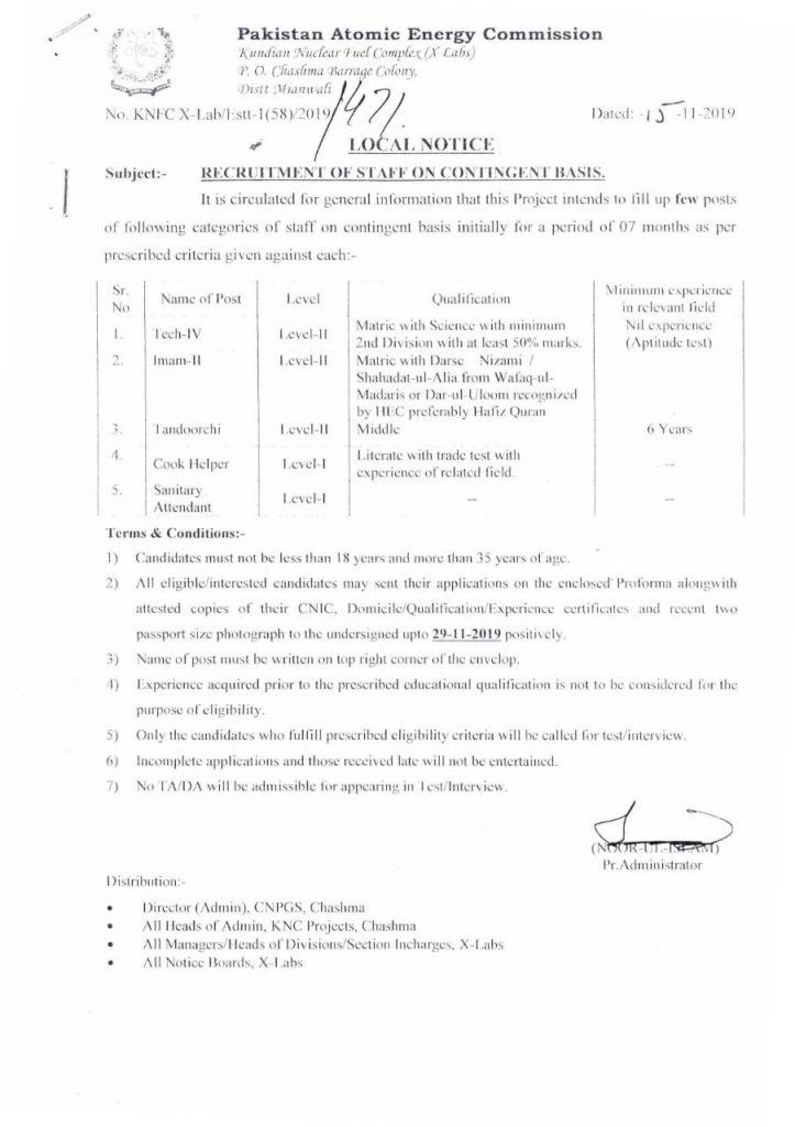 Recruitment on Contingent Basis Pakistan Atomic Energy Commission