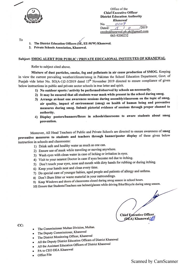 SMOG Alert for PublicPrivate Educational Institutes of Khanewal
