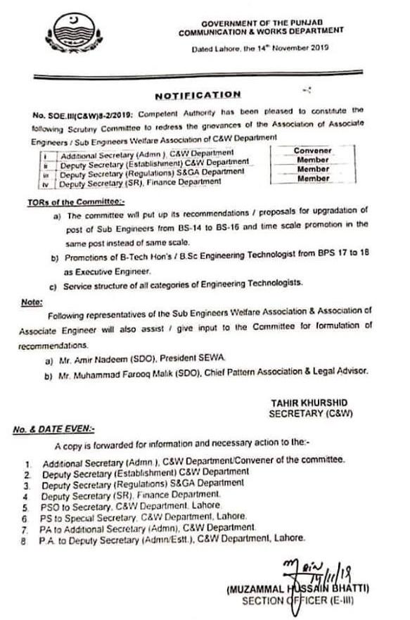 Scrutiny Committee to Redress of Grievances Associate EngineersSub Engineers