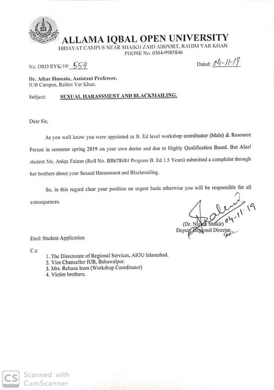Sexual Harassment and Blackmailing Student AIOU
