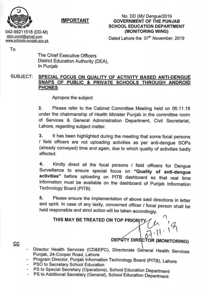 Special Focus on Quality of Activity Based Anti-Dengue Snaps of Schools