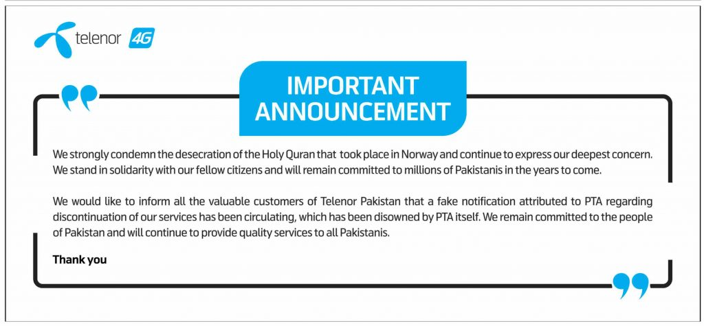 Telenor Condemns Desecration of Holy Quran in Norway