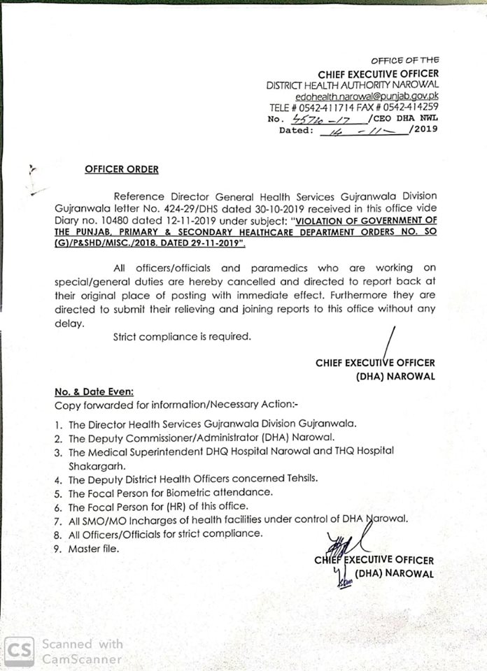 Violation of Punjab Govt Primary and Secondary Healthcare Department