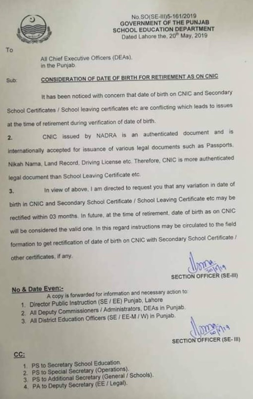 consideration of date of birth for retirement as on CNIC