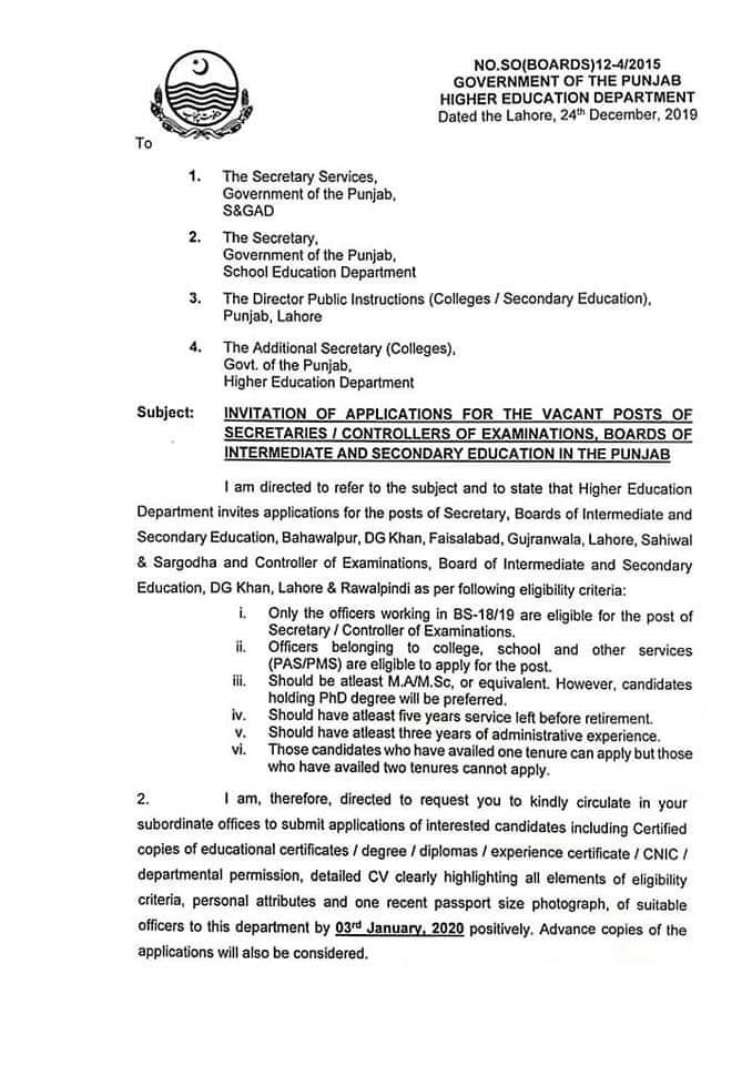 Applications are Invited for the Post of Secretaries Controllers BISE Punjab-1