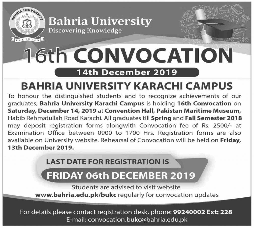 Bahria University Karachi Convocation 2019