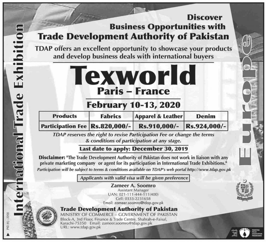 International Trade Exhibition TexWorld Paris-France 2020