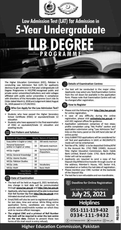 Law Admission Test (LAT) for 5 Year LLB Degree Program 2021-22