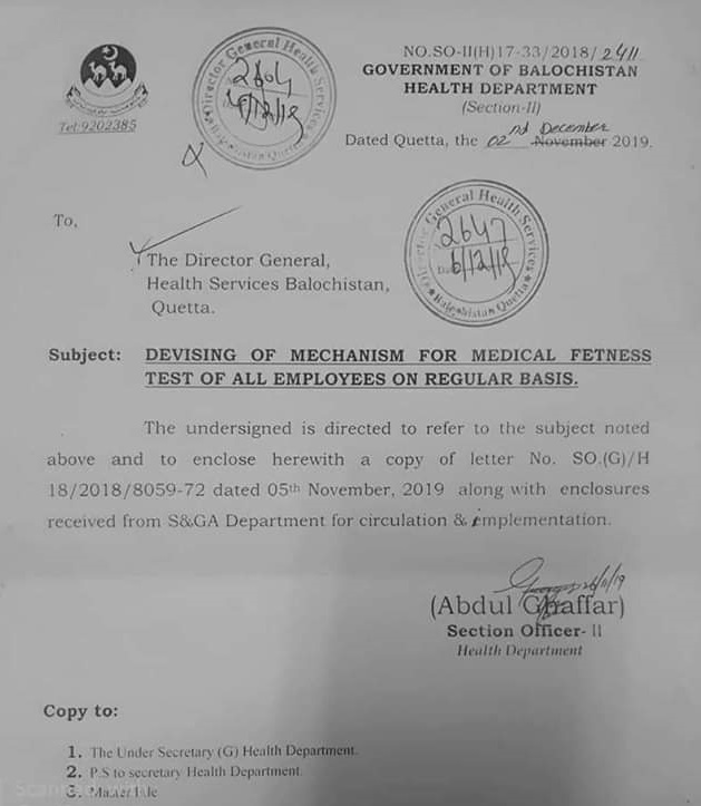 Mechanism for Medical Fitness Test of Health Department Employees Balochistan