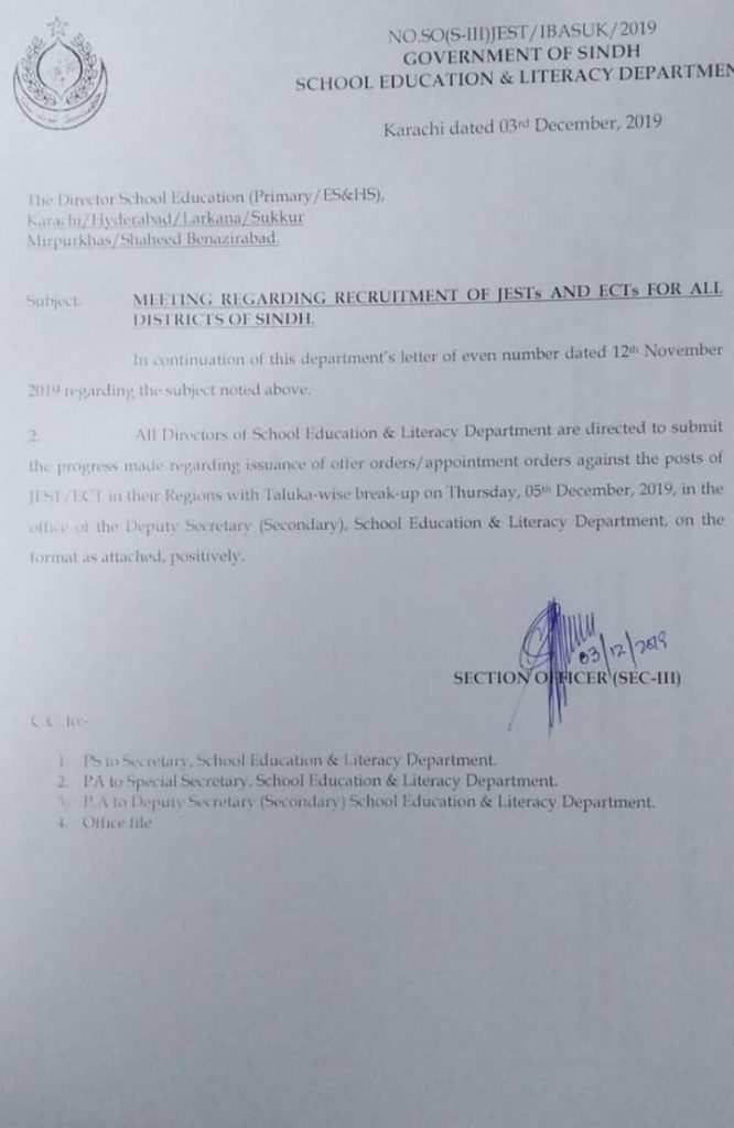 Meeting Regarding Recruitment of Jests and ECTs Sindh