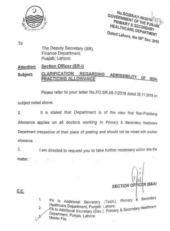 Non-Practice Allowance for Doctors in Health Department Punjab