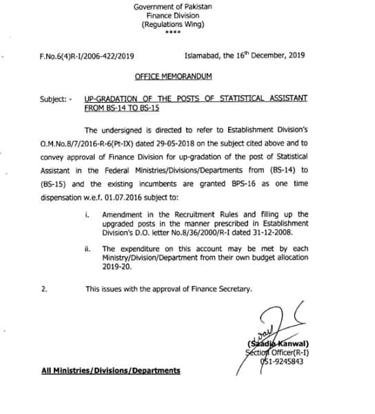 Notification Upgradation of Statistical Assistant Federal Govt