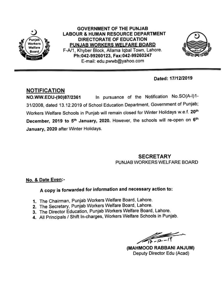 Notification about Winter Holidays Punjab Welfare Board Schools