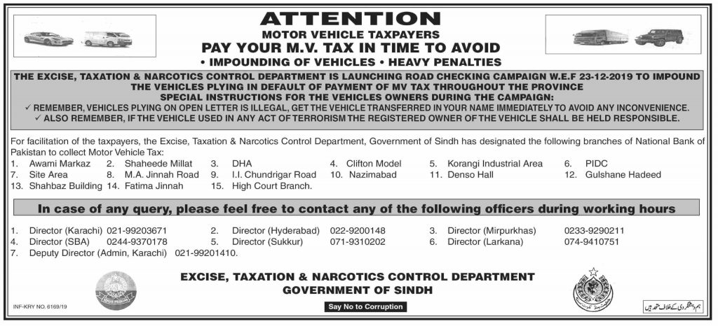Pay Motor Vehicle Tax to Avoid Penalty Sindh Govt