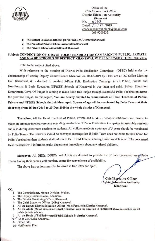 Polio Eradication Initiative Programme for 5 days in Schools