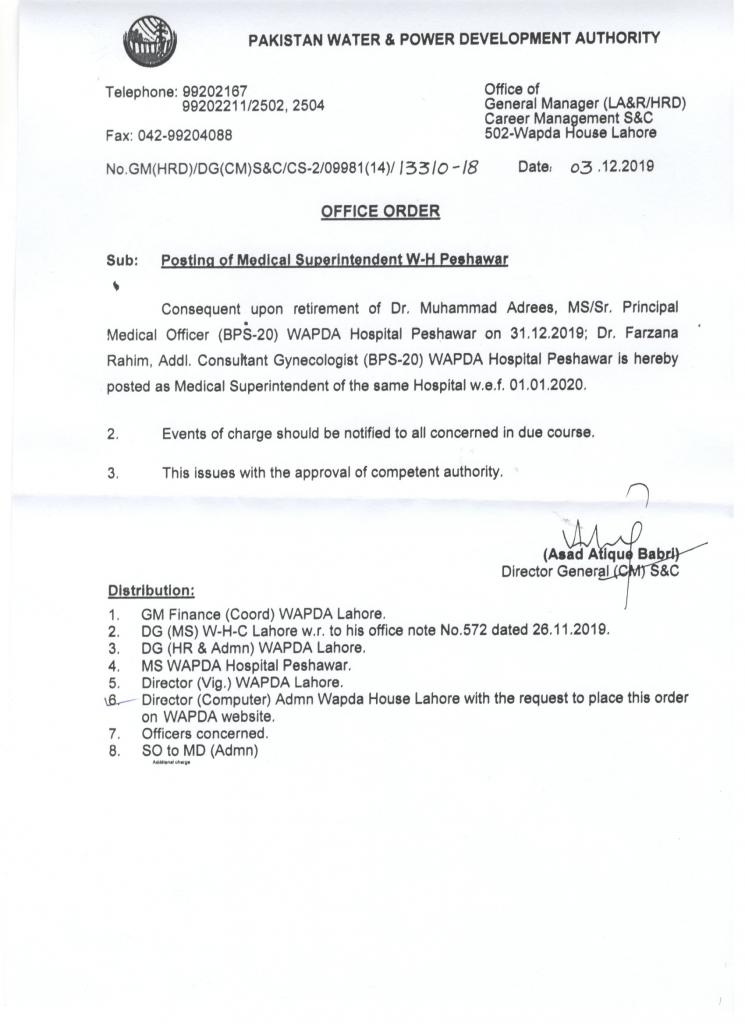Posting of Medical Superintendent WAPDA Hospital Peshawar