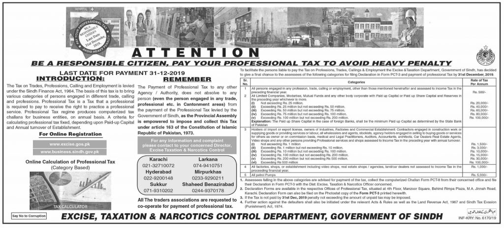 Professional Tax Sindh Penalty for Late Payment