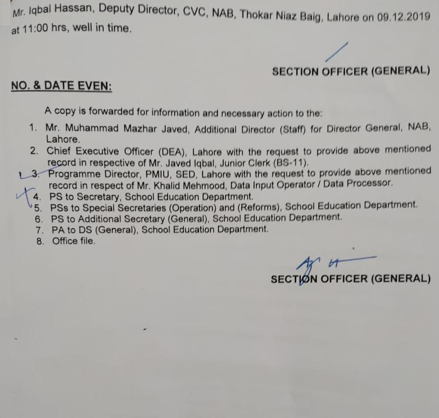 Provision of Information under NAB