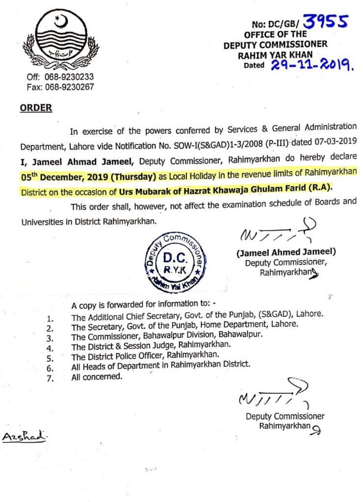 Public Holiday in Rahim Yar Khan 2019 Urs of Hazrat Khawaja Ghulam Farid