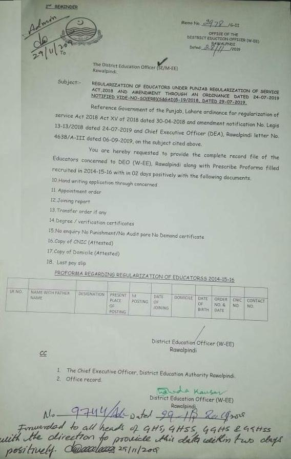 Punjab Govt Notification of Contract Educators Regularization 2019