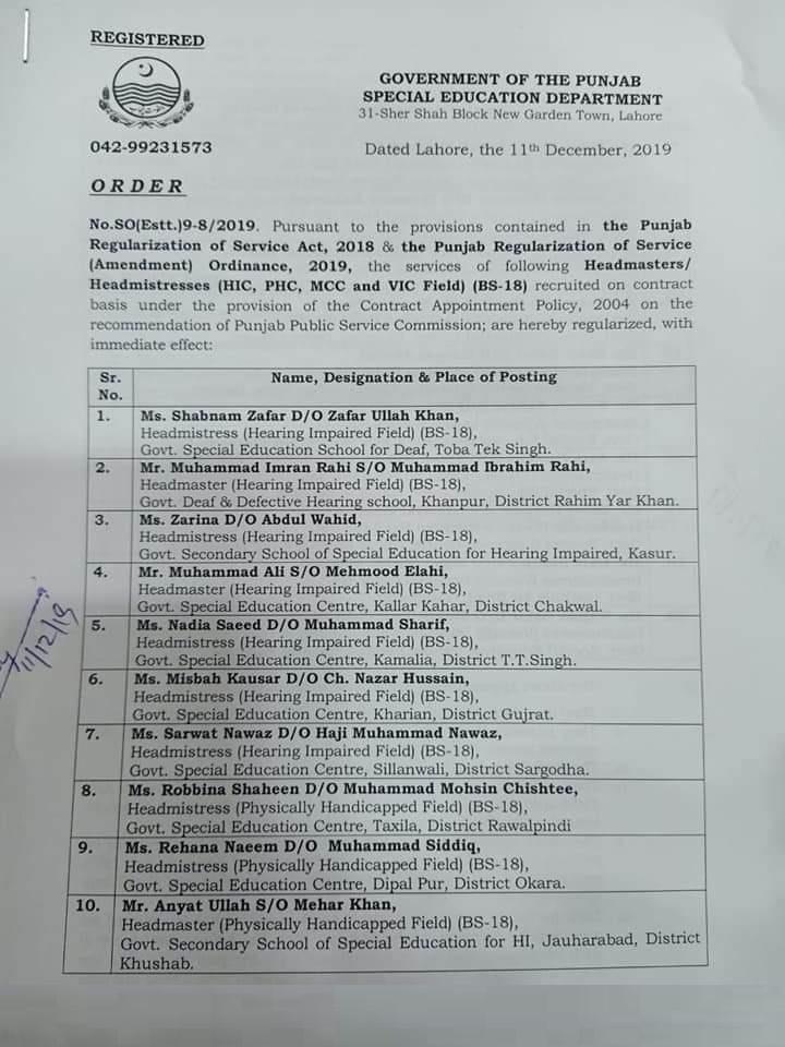 Regularization of Headmasters Headmistresses Punjab