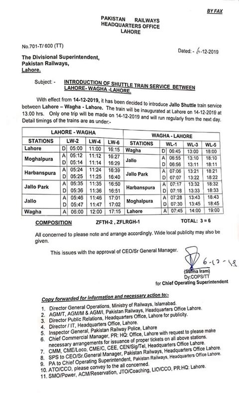 Shuttle Train Service from Lahore & Wagha Pakistan Railway