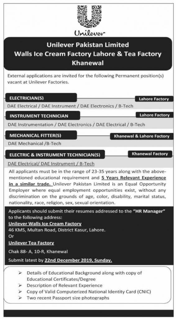 Vacancies of Technical Staff in Unilever Tea Factory Pakistan 2020