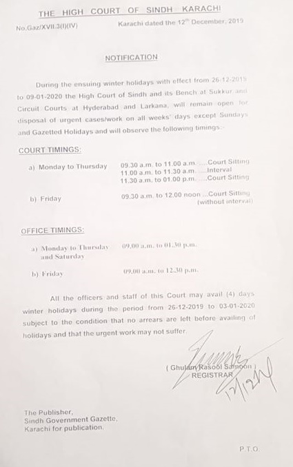 Winter Holidays & High Court Timings 2019-20 Sindh