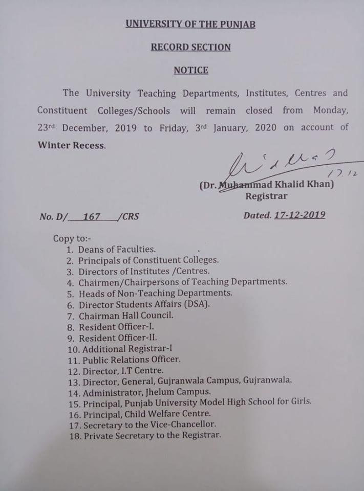 Winter Recess Break 2019 Punjab University
