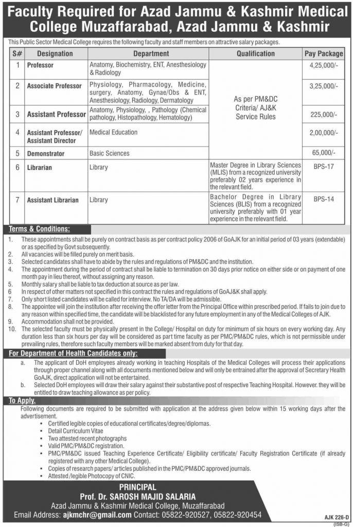 AJK Medical College Muzaffarabad Jobs 2020