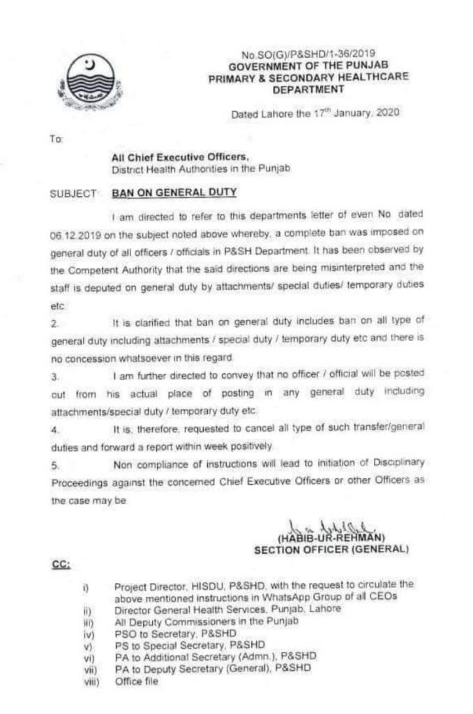 Ban on General Duty 2020