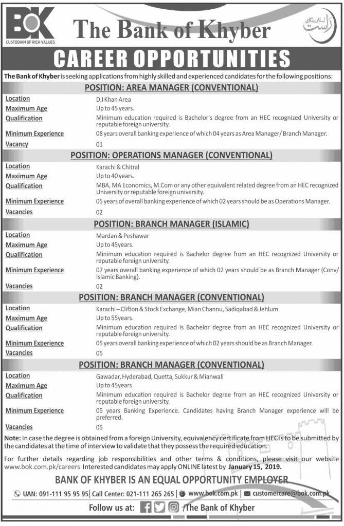 Bank of Khyber Jobs 2020 Online Apply