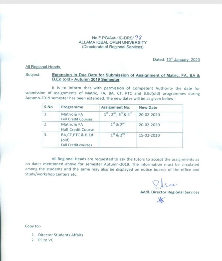 Extension in Assignment Submission Date AIOU Notification 2020