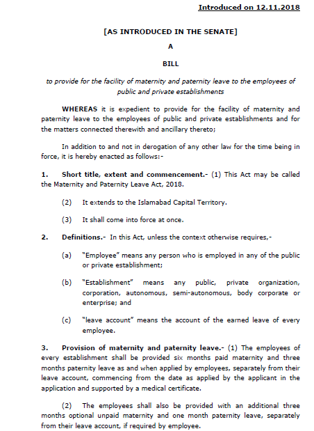 Maternity and Paternity Leave Bill 2018