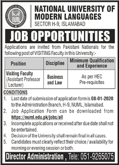 NUML Islamabad Jobs 2020 Advertisement