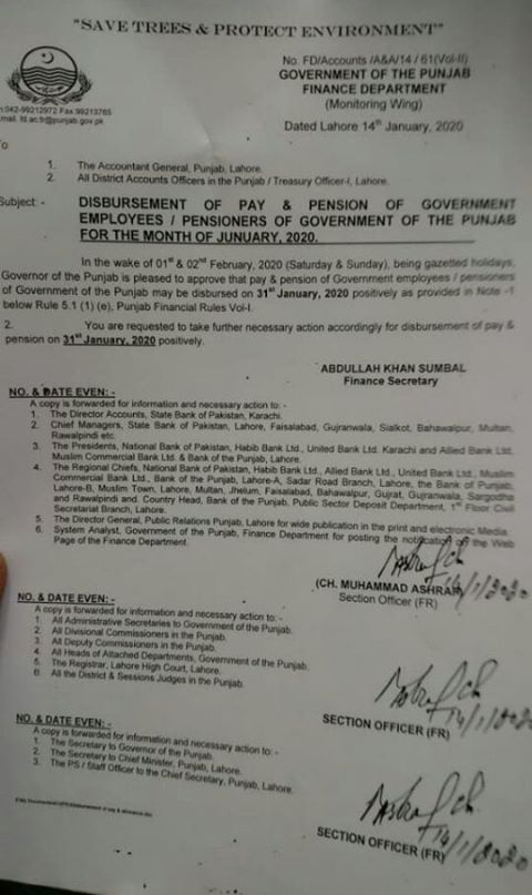 Notification of Disbursement of Pay & Pension January 2020