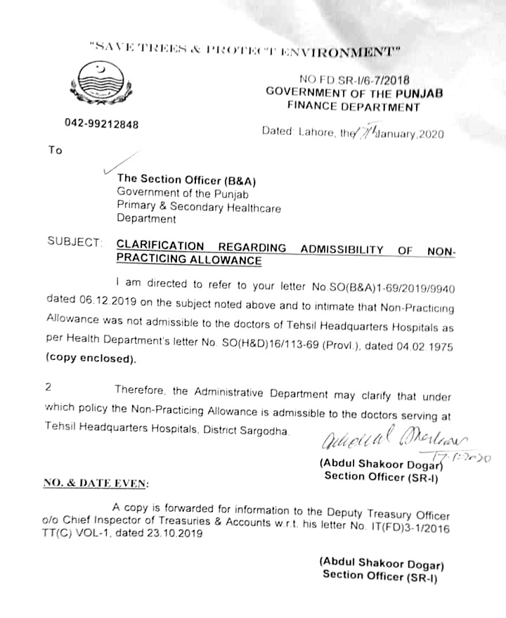 Notification of Non Practicing Allowance 2020