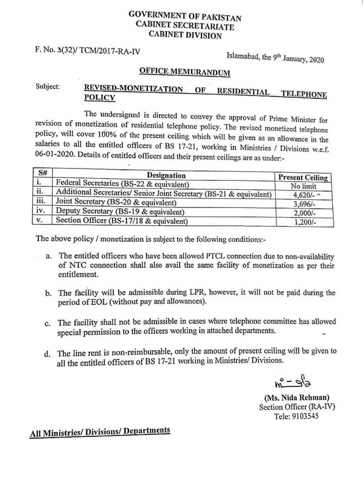 Notification of Residential Telephone Policy 2020