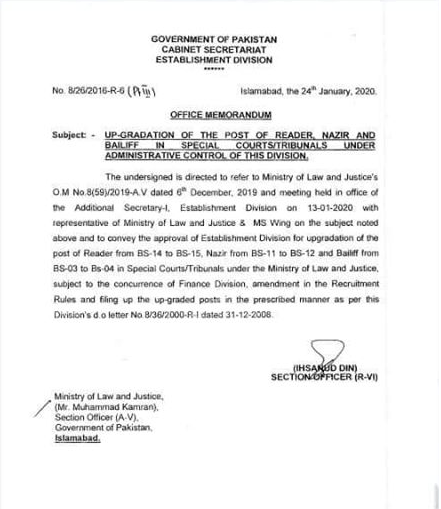 Notification of Upgradation of Reader, Nazir and Bailiff 2020