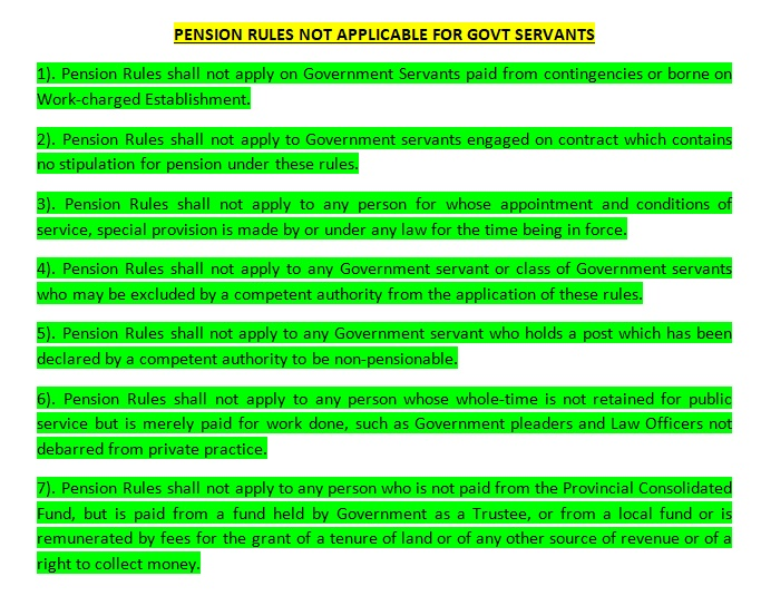 Pension Rules Not Applicable for Govt Servants