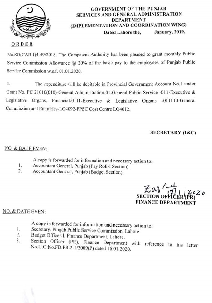 Punjab Public Service Commission Allowance 20% of Basic Pay Notification