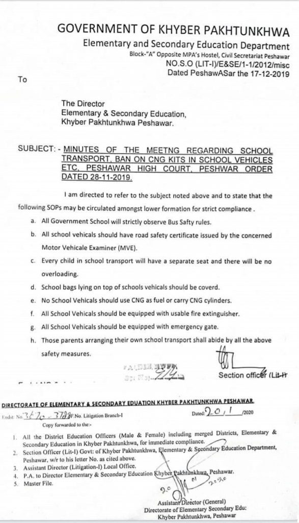SOP for School Transport 2020 KPK