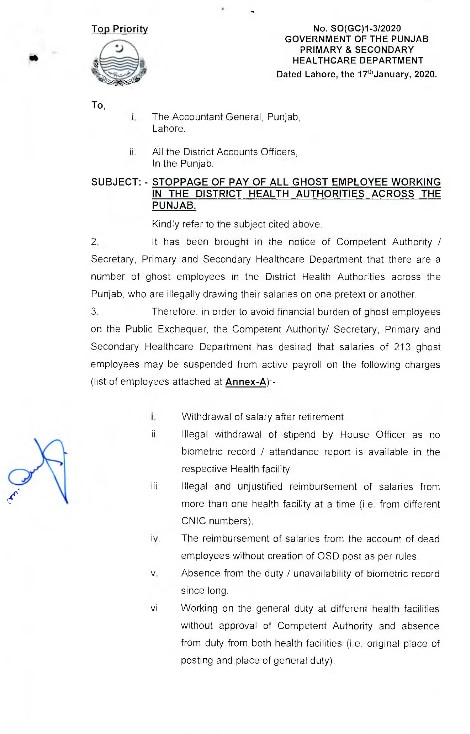 Stoppage of Salary of Ghost Employees 2020