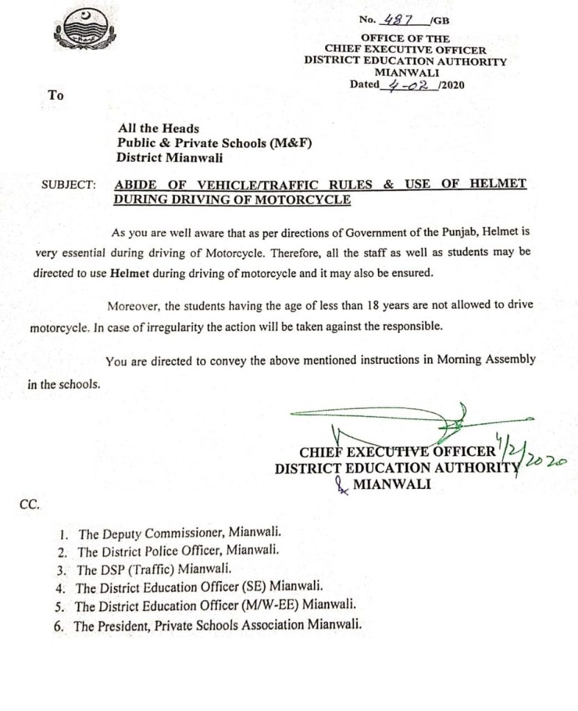 Abide of VehicleTraffic Rules & Use of Helmet During Driving of Motorcycle