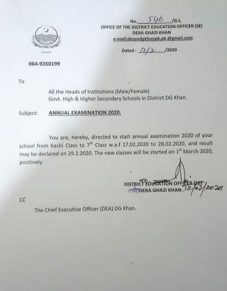 Annual Examination 2020 Dera Ghazi Khan