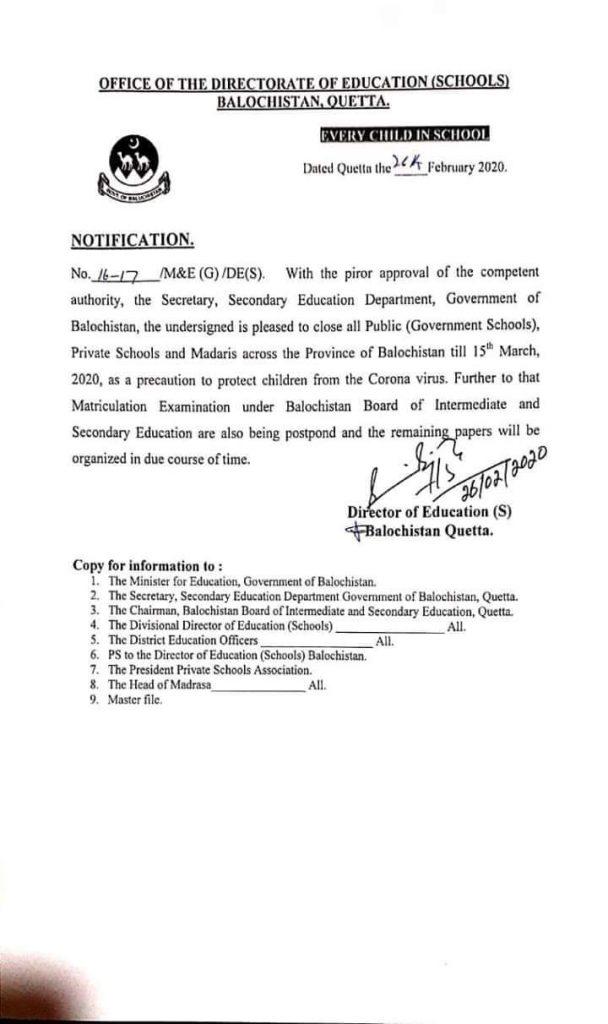 Balochistan Govt Declared Holidays Till 15th March 2020 for Precaution of CoronaVirus