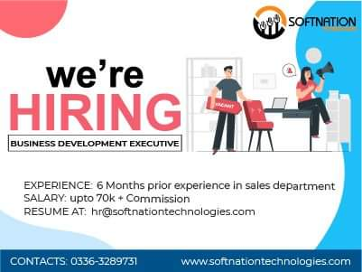 Business Development Executive Jobs for Softnation Technologies